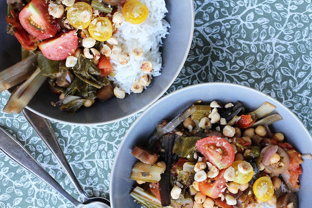 Glutenvrije stoof met snijbiet, aubergine en bleekselderij