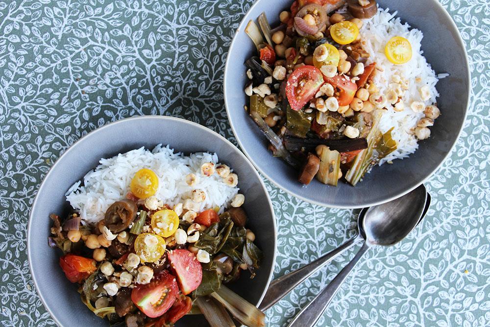Zomerse stoof met bleekselderij, aubergine en snijbiet – glutenvrij recept